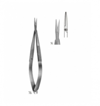 Micro Scissors, Spring Type  Flat Handles and Cross- Serration